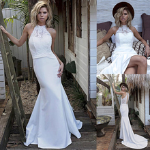 Chic Satin Halter Collar Mermaid Wedding Dress With Lace Appliques Keyhole Back White Bridal Dress vestido de festa curto