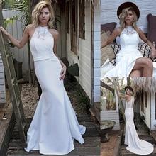 Chic Satin Halter Kraag Mermaid Trouwjurk Met Kant Applicaties Keyhole Back White Bridal Dress vestido de festa curto