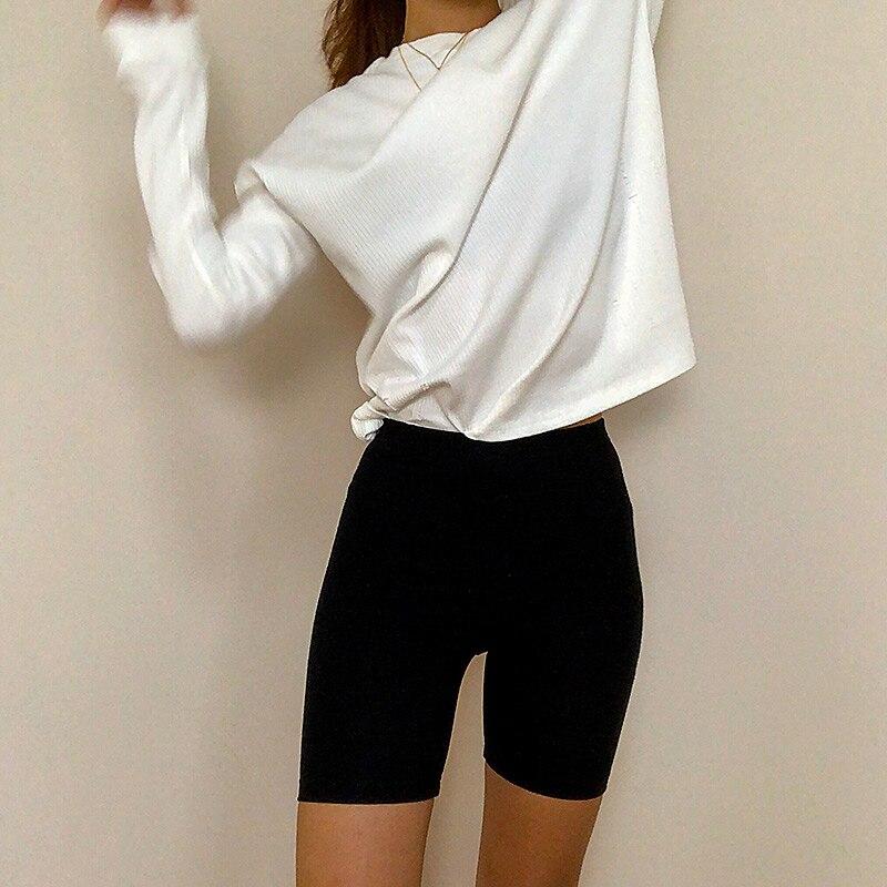 2019 Summer Vintage Cotton High Waisted Biker Shorts Korean Short Mujer Sexy Mini Casual Black Shorts Feminino Streetwear