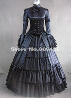 2014 Custom Vintage Long Sleeve Bow Satin Gothic Victorian Dress Black Halloween Gowns Adult Victorian Gowns