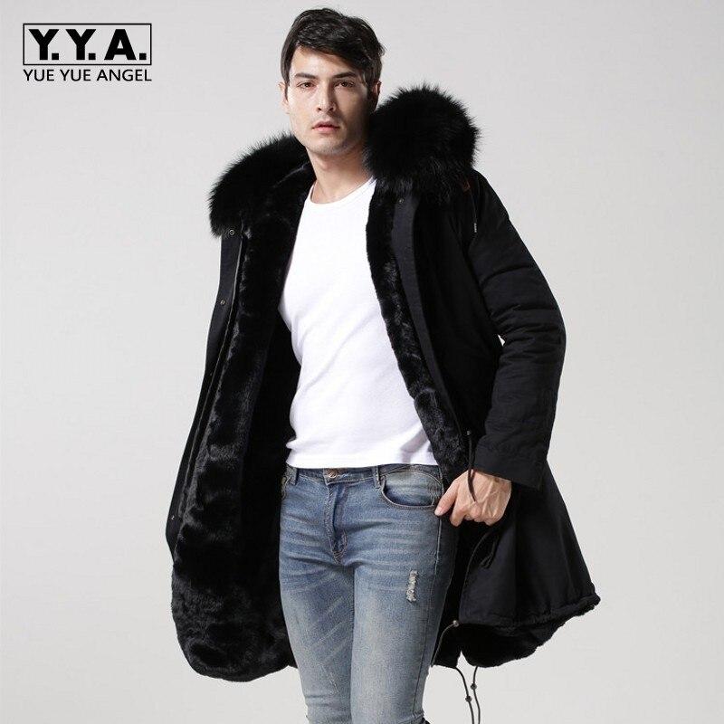 2018 новый черный натуральной меховой воротник с капюшоном Для мужчин s Парка утепленная Меховая подкладка зимние пальто длинные куртки Для м...