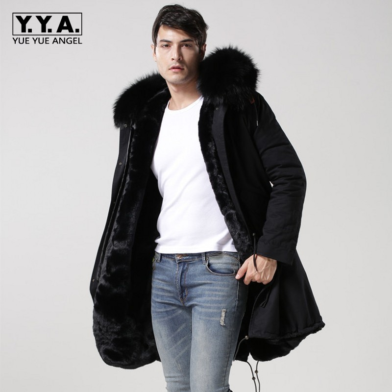 2019 New Black Real Fur Collar Hooded Mens Parka Thicken Warm Fur Lining Winter Overcoat Long Jackets Men Large Size S-4XL Coats