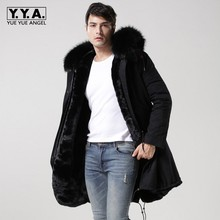 2019 New Black Real Fur Collar Hooded Mens Parka Thicken Warm Lining Winter Overcoat Long Jackets Men Large Size S-4XL Coats
