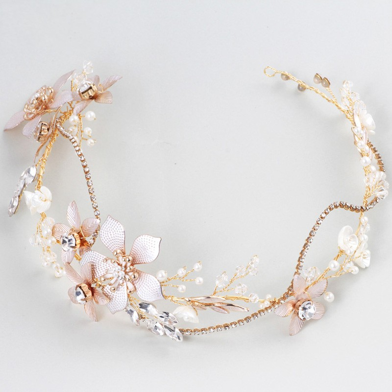 Dower me Baroque Bridal Tiara Headband Gold Floral Wedding Hair Piece Ornaments Women Prom Hair Accessories 00009 red gold bride wedding hair tiaras ancient chinese empress hair piece
