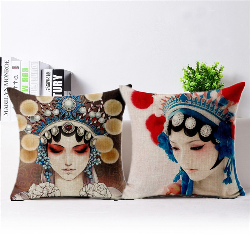 Chinese Style Facial Makeup In Beijing Opera Printed Bolster Chinoiserie Sofa Cushion Pillows Reading Room Living Room Bolster