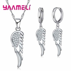 Angle Wing 925 Sterling Silver Pendants Necklace Dangle Earrings Set For Wedding Women CZ Zircon Engagement Jewelry Sets