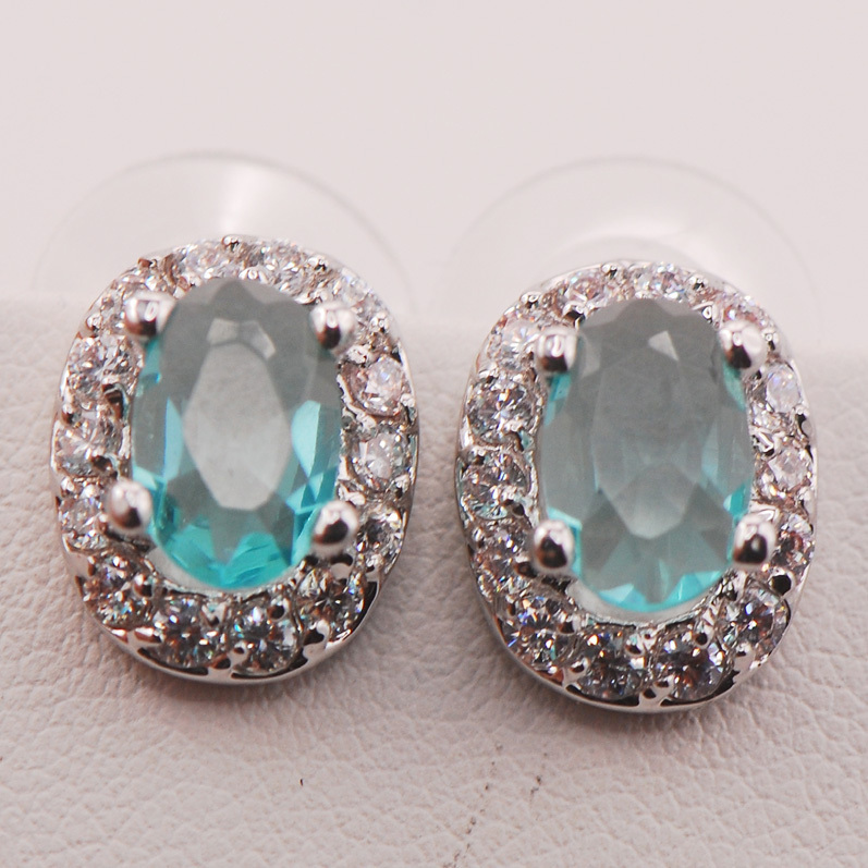 Simulated Aquamarine Woman 925 Sterling Silver Crystal Earrings TE480