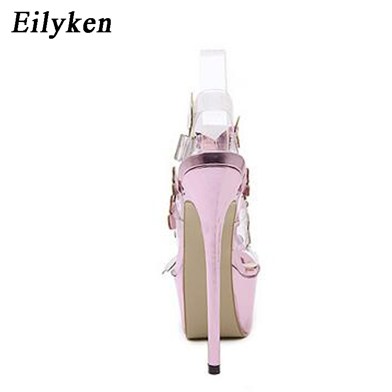 Image 4 - Eilyken Gladiator Sandals Ankle Strap Platform Sandals Women Flower Transparent Women Pumps 17CM Summer Sexy Purple Woman Sandal-in High Heels from Shoes