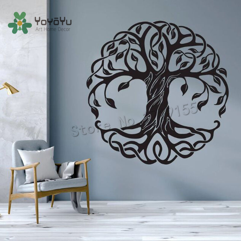 Tree Decals Mandala Wall Stickers Tree Of Life Decal Bedroom Decor Circle Trees Vinyl Wallpaper Home Yoga Mural Cosmic TreeZW495