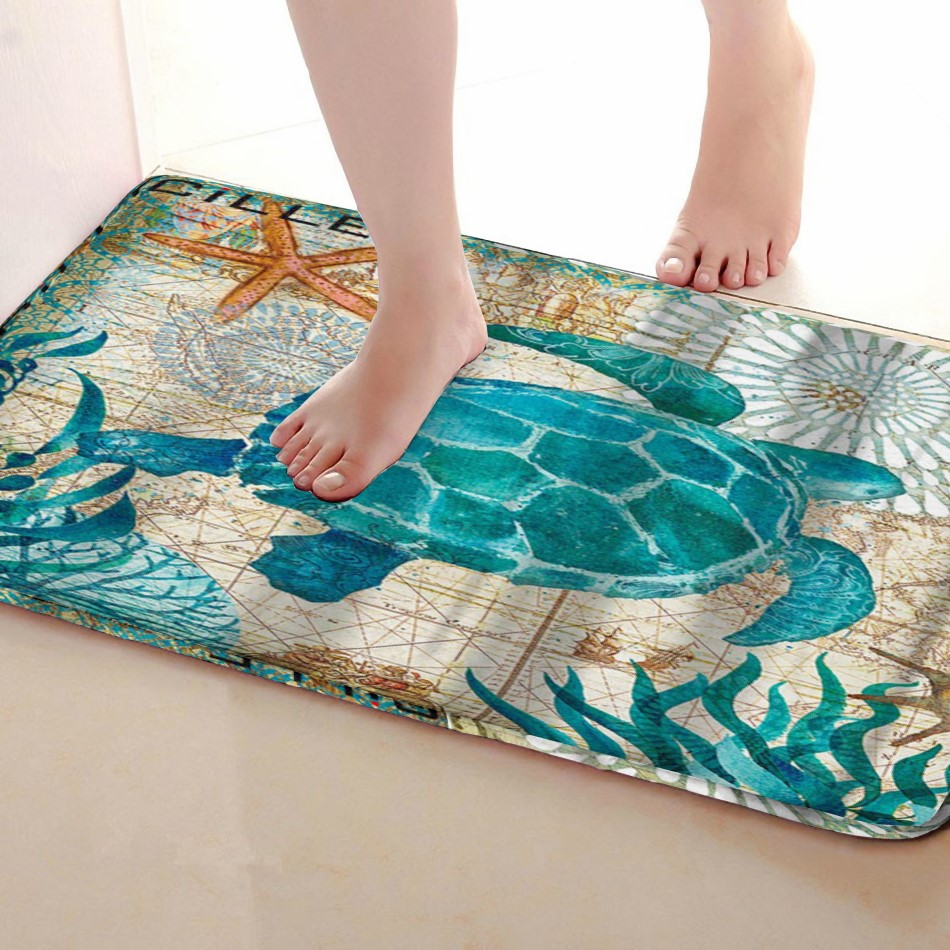 Tortoise Style Bathroom Mat,Funny Anti skid Bath Mat,Shower Curtains Accessories,Matching Your Shower Curtain