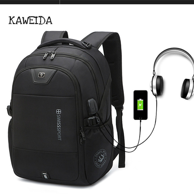 2fc1c9cd472b Men Swedish Best Anti Theft Laptop Backpack USB Charge Computer Backpacks  Women Oxford Travel Bags with