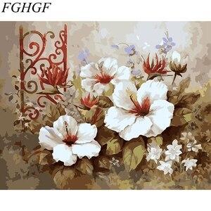 FGHGF Witte en rode Bloem Frameloze Foto Home Decor DIY Acryl Olieverf Door Getallen Wall Art DIY Canvas