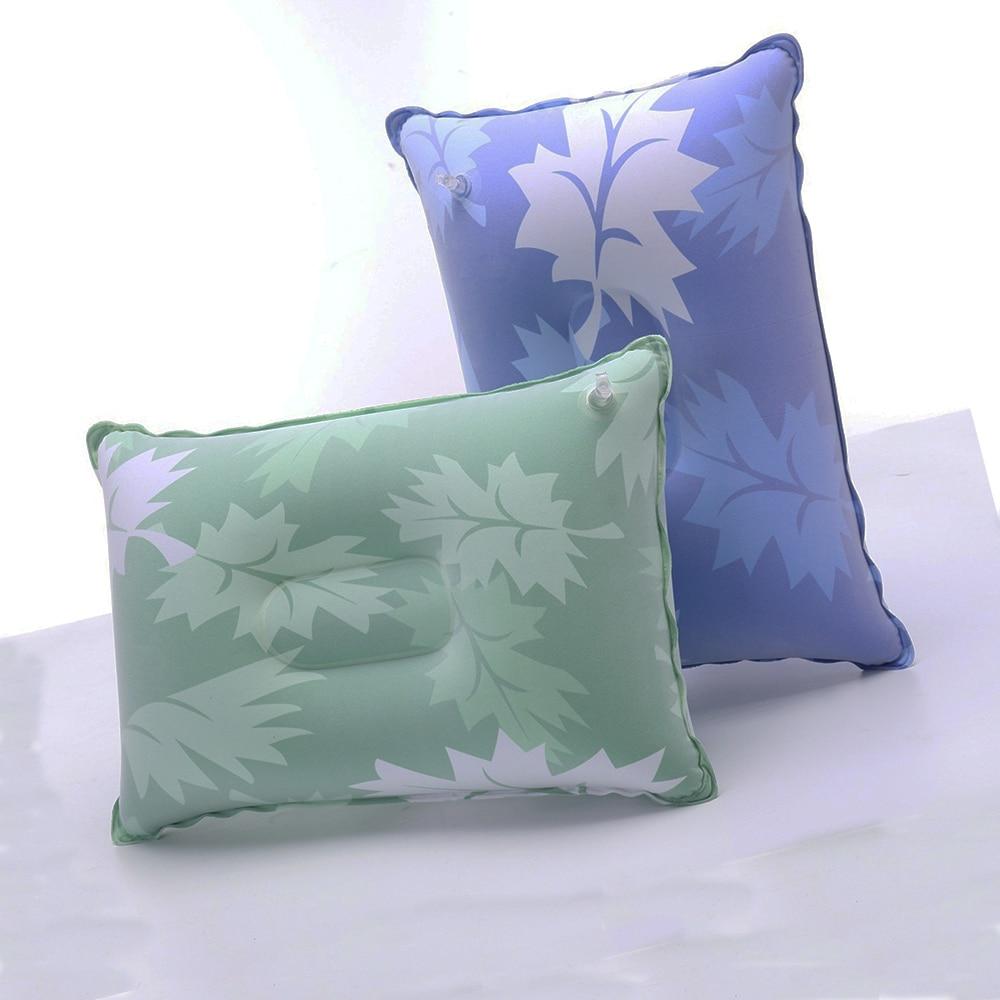 Надувная мини-подушка с флоком, однотонная Удобная подушка для кемпинга, путешествий, туризма, самолета, отеля, отдыха для сна