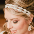 Romantic Wedding Bridal Crystal Headband Headpiece Rhinestone Ribbon Hair Band For Bride Hair Jewelry Women hair accessories