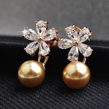 USTAR Flower zircon Crystals stud earrings for women gold color simulated pearl female earrings fashion jewelry Top quality