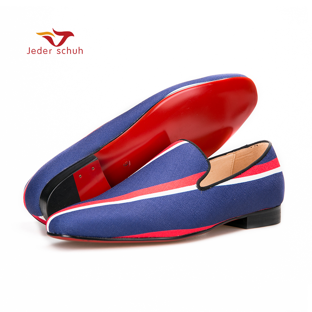 Jeder Schuh new Square toe blue canvas shoes with striped design Party and Banquet men dress loafers Leather insole men flats casual men s sandals with striped and velcro design