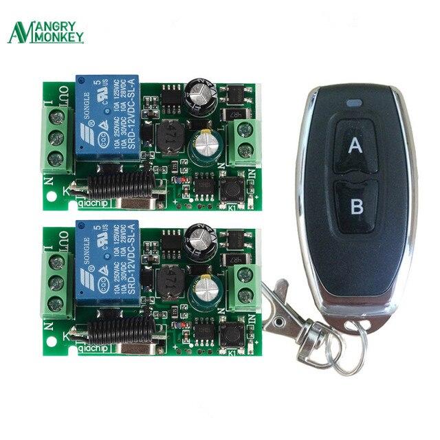 433 Mhzรีโมทคอนโทรลไร้สายAC 110V 220V 2 ชิ้น 1 ช่องรีเลย์ตัวรับสัญญาณรีเลย์และ 1 ชิ้นRF 433 Mhz Rem