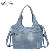 Rdywbu kadın kot omuzdan askili çanta yeni moda kot yüksek kaliteli seyahat Crossbody çanta büyük Tote çanta Mochila Bolsa B725