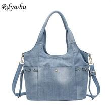 Rdywbu mulheres denim bolsa de ombro nova moda jeans alta qualidade bolsa de viagem crossbody grande bolsa bolsa b725