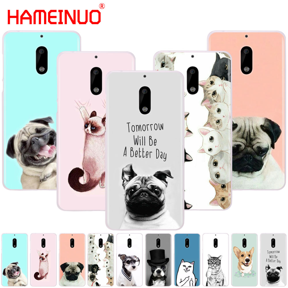 HAMEINUO Cute Dog Cat cover phone case for Nokia 9 8 7 6 5 3 Lumia 630 640 640XL 2018
