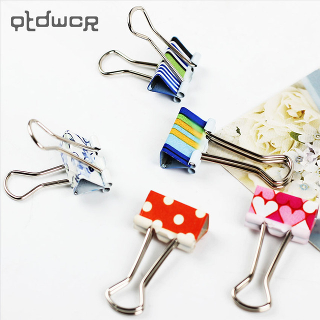 24PCS Small Size Fresh Style Printed Metal Binder Clips Paper Clip Office School Binding Supplies Color Random