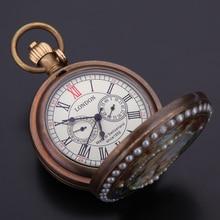 Fob montres de poche femme mode montre mécanique chiffres romains cadrans classique Bronze en laiton Tone chaîne belle strass