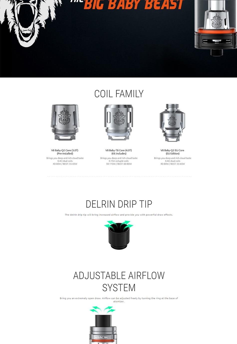 , 100% Original 220W SMOK T-Priv TC Vape Kit with 5ml TFV8 Big Baby Tank & 220W SMOK T-Priv Box Mod vs Smok alien/G-priv/GX350