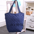 Free Shipping Casual Polyester Shopping Bags Pure Navy Color Shoulder Bags Women Handbags Shopping Bag