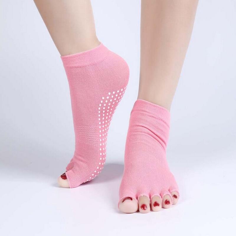 1Pair Durable Half Toe Socks Peep Toe Anti-Slip Pilates Ankle Grip Open Half Five Fingers Cotton Socks High Quality