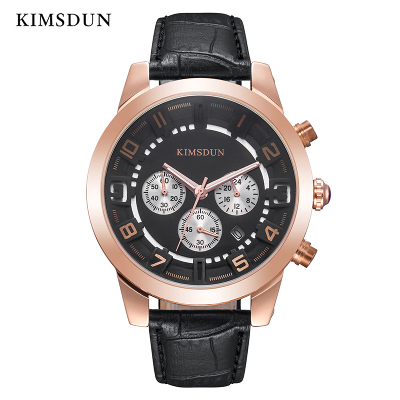 KIMSDUN Mens Watches Top Brand Luxury Sport Business Military Quartz Waterproof Watch Men Wristwatch High Quality New Arrival