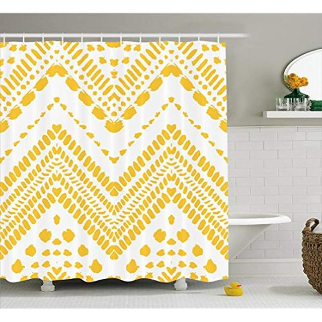 Vixm Yellow Chevron Shower Curtain Hand Drawn Tribal Aztec African Pattern Ethnic Motif With Dashed Lines Fabric Bath Curtains