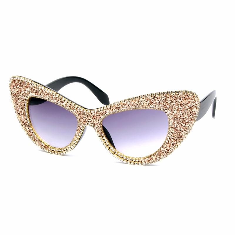 Luxury Vintage Sunglasses Women Oversized Round 2018 Fashion Rhinestone Shades