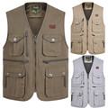 Slim Fit Men Autumn Spring Vest With Many Pockets Solid Color Men'S Waistcoats Brand Clothing Men Outwear Coats A2861