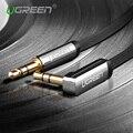 Ugreen 3.5mm cabo de áudio de 90 graus de ângulo direito jack plana 3.5mm cabo aux cabo para iphone car aux falante fone de ouvido batidas MP3/4