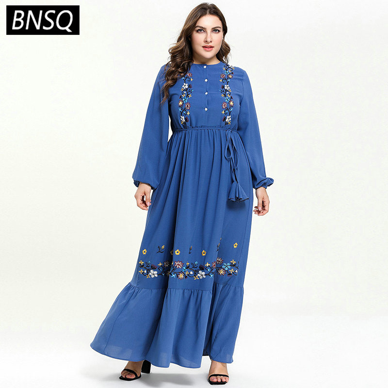 BNSQ Floral Embroidery Maxi Dress Elegant Ethnic Ruffles Draped Swing Muslim Clothes Blue Single-Breasted Breast-feeding Wears