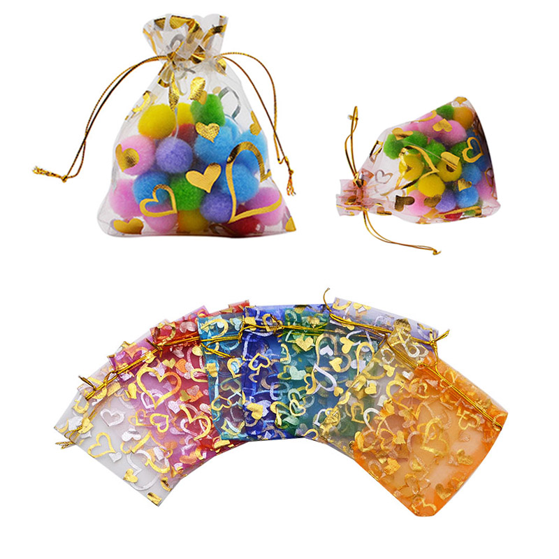 20pcs/lot 7x9 9x12 11x16 13x18cm Heart Organza Bags Wedding Christmas Gift Bags Jewelry Packaging Organza Bags & Pouches