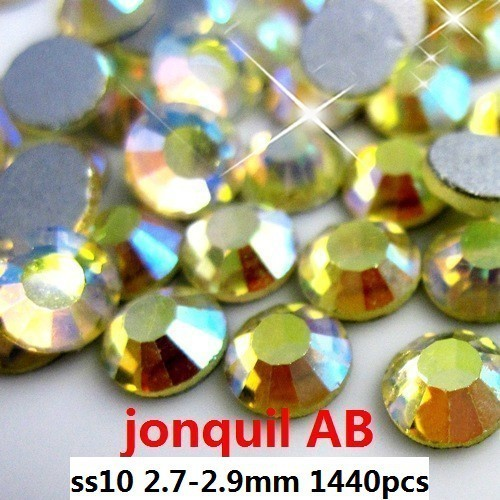 Glass Rhinestone For Nails Art 1440pcs ss10 2.7-2.9mm Jonquil AB Color Flat Back Non Hotfix Glue On Crystals And Stones DIY