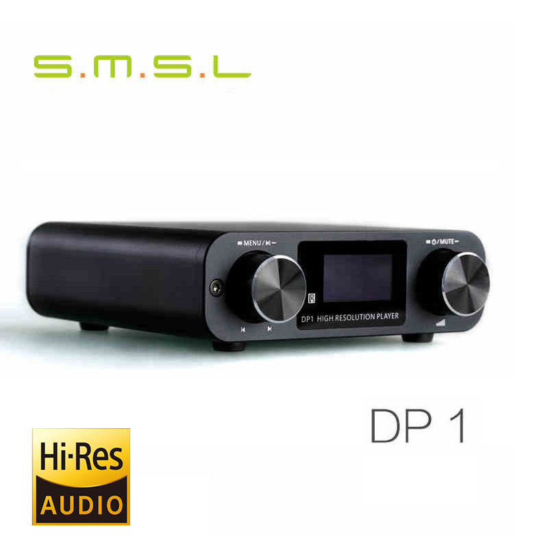 SMSL DP1 HIFI Audio Lossless Player/USB DAC 32BIT/192Khz Optical Decoder/Digital Turntable/Headphone Amplifier+Remote Control smsl a8 hifi audio digital power amplifier dac headphone amp decoder xmos solution icepower 125wx2 module ak4490 supports pcm