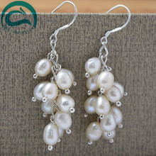 2018 Fashion White Natural Freshwater Pearl Drop Earrings Hot Selling 925 Sterling Silver Jewelry Fine