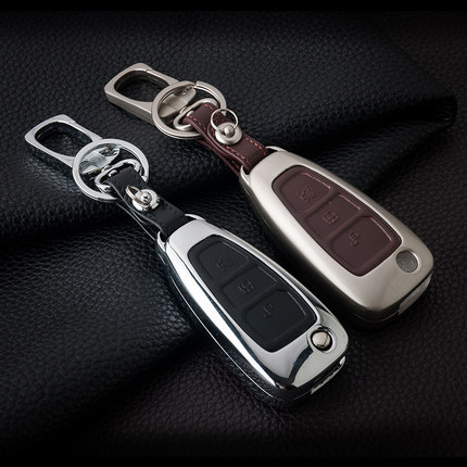 Leather Car Styling Key Cover Case Auto Accessories For Ford Fiesta Focus 2 3 ST Mondeo Kuga Ecosport Ranger Escape