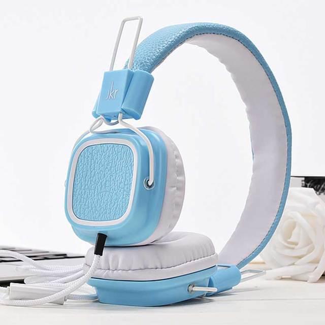 2016 Venda Melhor cancelamento de ruído fone de ouvido com fio mais de Fone De Ouvido 3.5mm Over-Ear Ajustável para Crianças Início Azul Fone De Ouvido JKR112