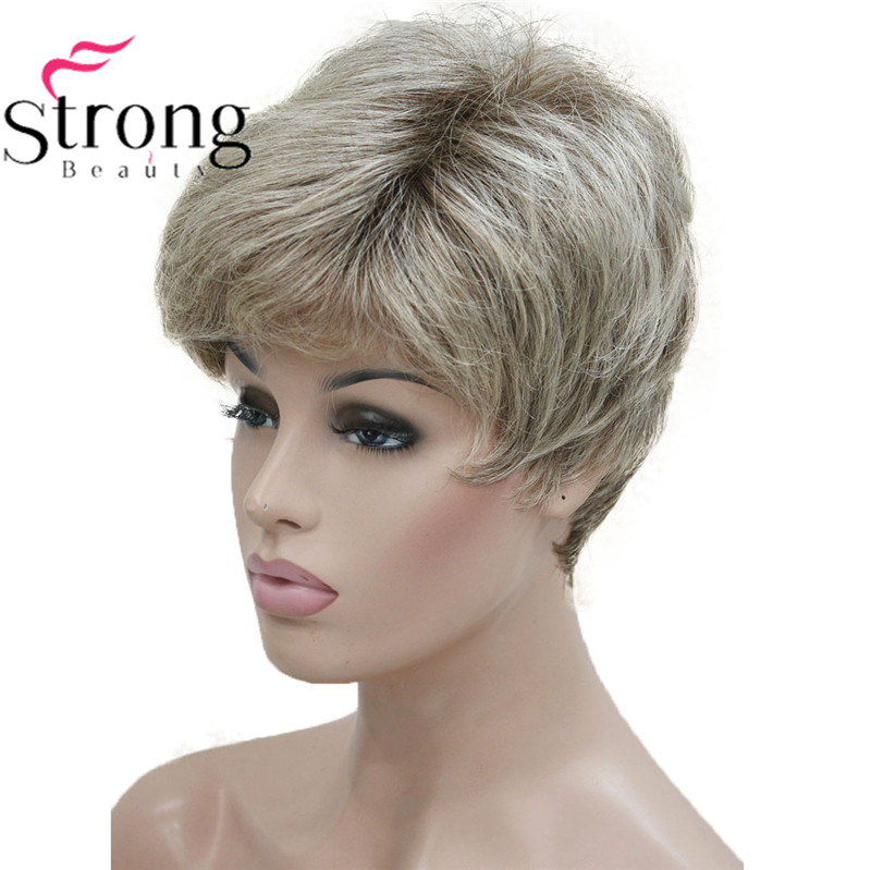 Image 2 - StrongBeauty Short Shaggy Layered Blonde Ombre Classic Cap full Synthetic Wig Women's Wigs-in Synthetic None-Lace  Wigs from Hair Extensions & Wigs