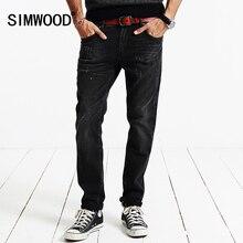 Simwood marke 2016 neue herbst winter denim-hosen jeans männer slim fit schwarz kleidung hosen sj6065