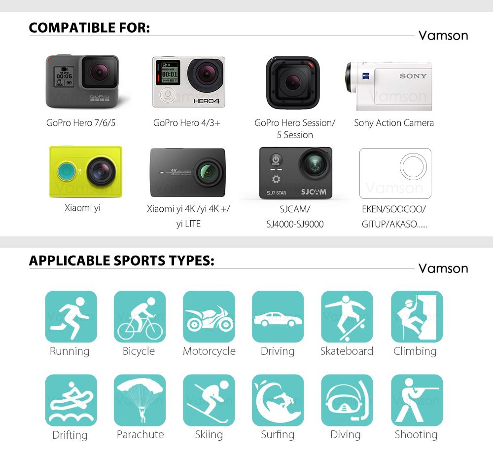 action camera Vamson Gopro Camera Accessories HTB1QvHMXoLrK1Rjy1zbq6AenFXaW