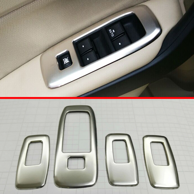 Stainless Steel Inside Door Window Buttons Cover Trim For Ford Everest 2016 2017 2018 : everest door - pezcame.com