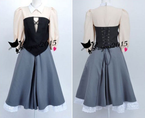 Sleeping Beauty Aurora Maiden Dress Little Briar Rose Costume Cosplay Outfits Gray Housemaid Corset