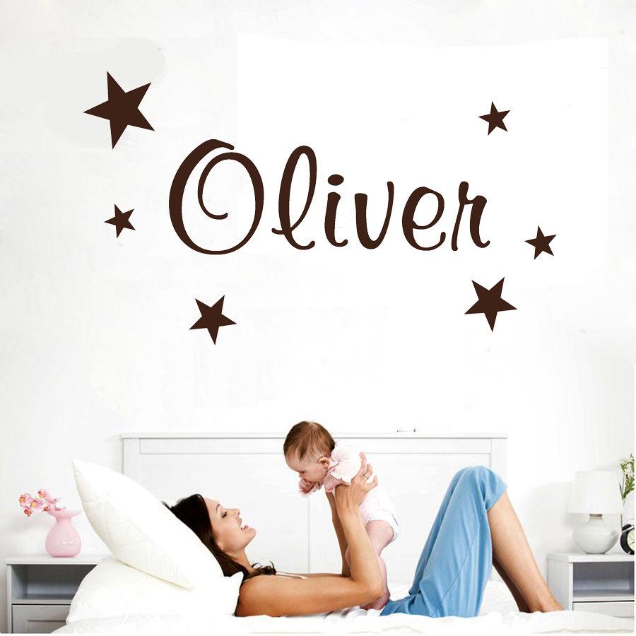 Wall Stickers custom baby name star vinyl decal decor Nursery kids removable