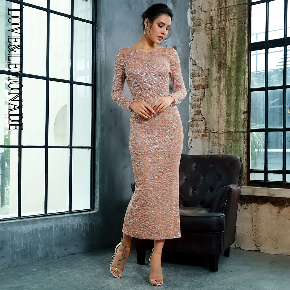 Love Lemonade 0 Neck Open Back Glued Material Mid Calf Dress LM81350ROSEGOLD