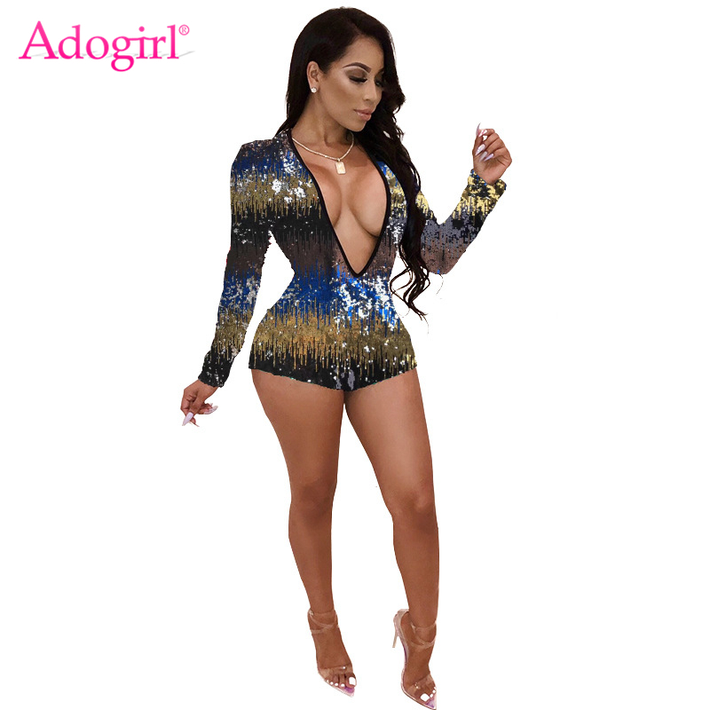 Colorful sequins women playsuit sexy plunge v neck long sleeve shorts bar night club party jumpsuits fashion rompers