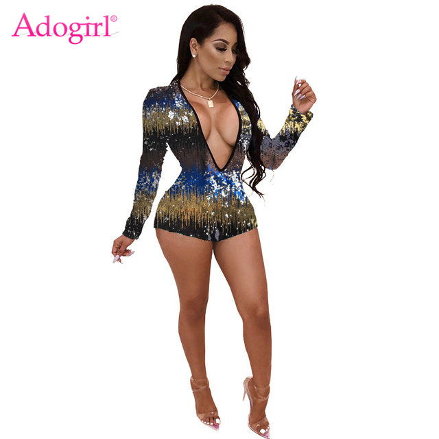 b7286f0447f Adogirl Colorful Sequins Women Playsuit Sexy Plunge V Neck Long Sleeve  Shorts Bar Night Club Party Jumpsuits Fashion Rompers